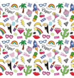 Seamless pattern with Fashion patches stickers vector image