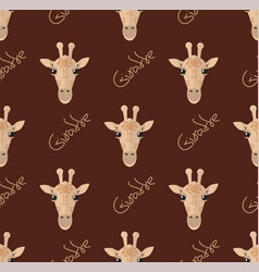 seamless pattern with giraffes on a brown vector image vector image