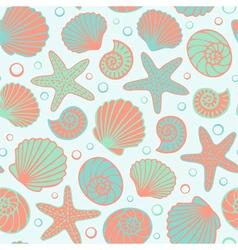 Seashell seamless pattern vector