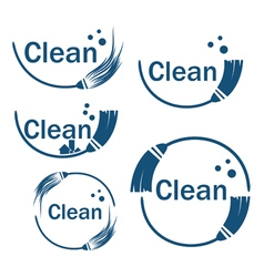 Set of cleaning icons with mop vector