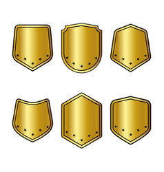 set of golden shields with stars in trendy flat vector image vector image