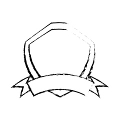 Shield premium badge ribbon sketch vector