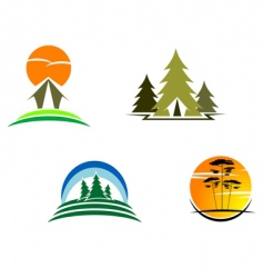 tourism symbols vector image vector image