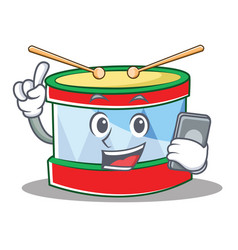 with phone toy drum character cartoon vector image
