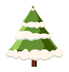 Fur tree in snow icon cartoon style vector