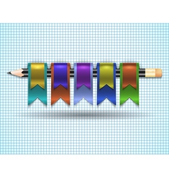 Colorful web ribbons with pencil vector image
