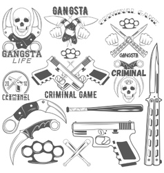 Collection of gang and criminal logotypes vector image