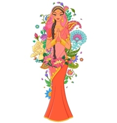 Indian girl in sari surrounded with flowers and vector