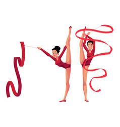 Rhythmic gymnasts in leotards vertical leg split vector