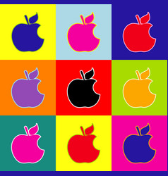 Bite apple sign pop-art style colorful vector