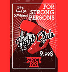 Color vintage fight club banner vector