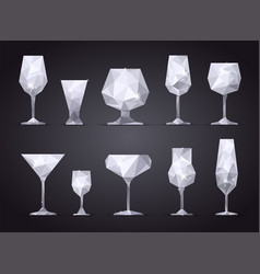 Set of triangle alcoholic glasses vector