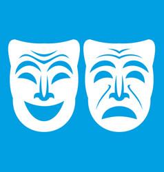 Happy and sad mask icon white vector