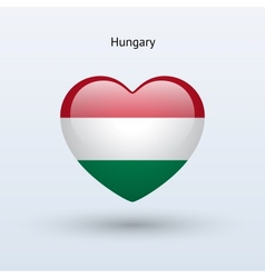 Love hungary symbol heart flag icon vector