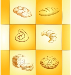 Bakery collection labels pack for bread baguette vector