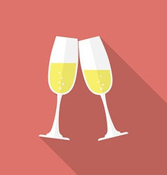 Glasses of champagne flat style icon vector