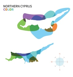 Abstract color map of northern cyprus vector