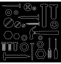 Hardware screws and nails with tools outline vector
