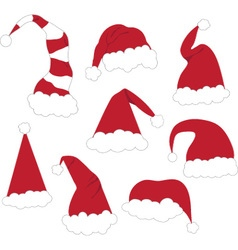 Christmas santa hats set vector