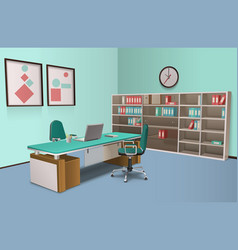 Realistic office interior big boss vector