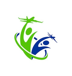 Logo airplane people line traveling holiday vector