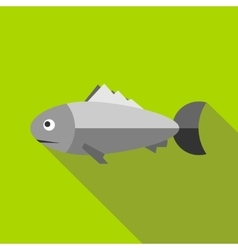 Grey fish icon flat style vector