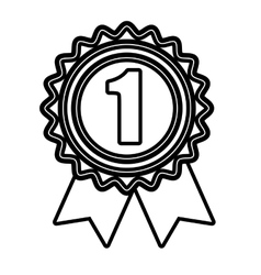 First place medal in black and white colors vector