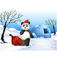 A panda with a red sack vector image
