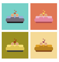 assembly flat icons gay in bed vector image