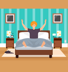 Awaking in good mood young man flat vector