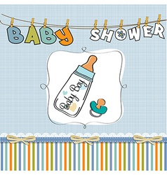 baby announcement card with milk bottle and vector image vector image