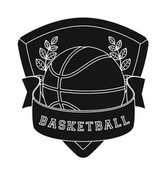 basketball emblembasketball single icon in black vector image