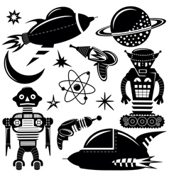 Black wall stickers space invaders set vector