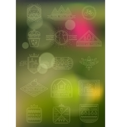 blurred background with ecology badges vector image
