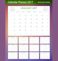 calendar planner template for 2017 year week vector image