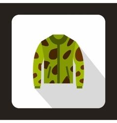 Camouflage hunting jacket icon flat style vector image