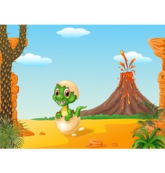 Cartoon funny baby tyrannosaurus hatching vector