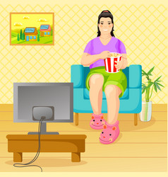 Cartoon unhealthy lifestyle and nutrition concept vector