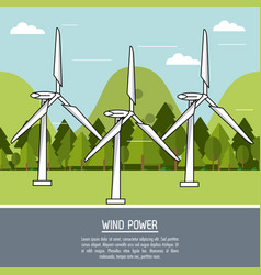 Color landscape background wind power plant with vector