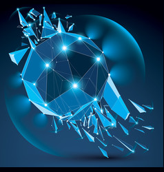 Dimensional wireframe blue sparkling object with vector
