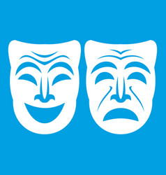 Happy and sad mask icon white vector