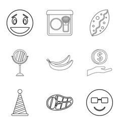 hearty welcome icons set outline style vector image