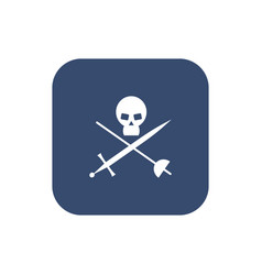 icon skull with crossed sabers vector image