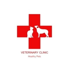 Isolated red veterinary cross and pets on white vector image