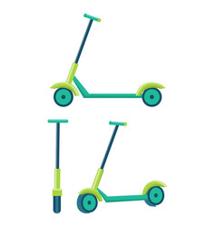 kick scooters different angles set of push scooter vector image