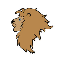 Lion cute funny cartoon head vector