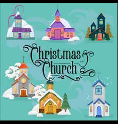 Merry christmas and happy new year card church vector