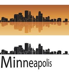 Minneapolis skyline in orange background vector