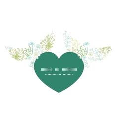 Mysterious green garden birds holding heart vector