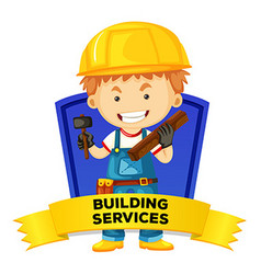 Occupation wordcard with building services vector